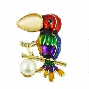 BJ-Multi-Color Rhinestone Parrot Bird Brooch